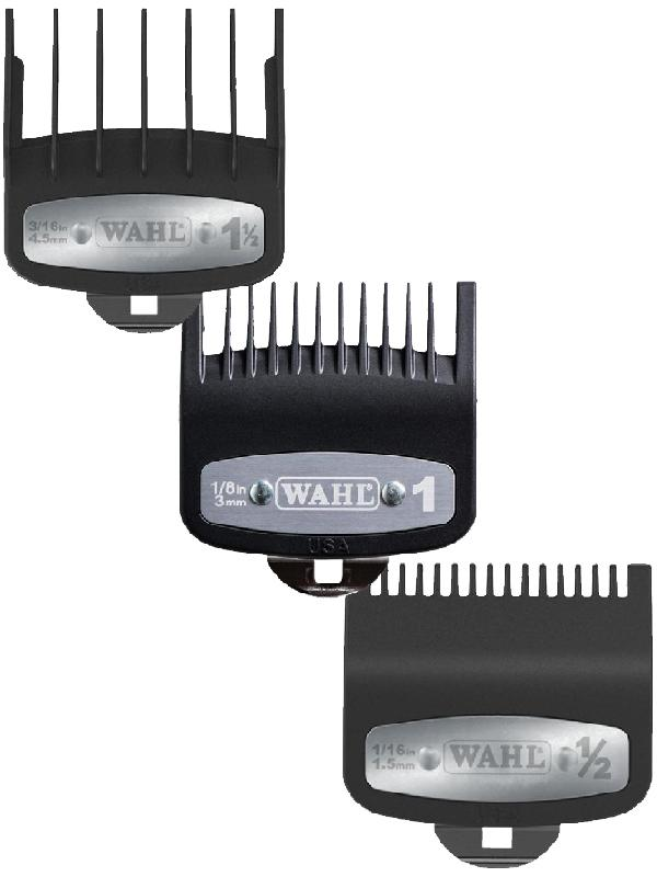 WAHL PREMIUM CUTTING GUIDE COMBS WITH METAL CLIP 3pcs Set (0.5, 1, 1.5)