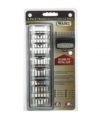 WAHL PREMIUM CUTTING GUIDES with metal clips - 8 GUARDS WITH ORGANIZER
