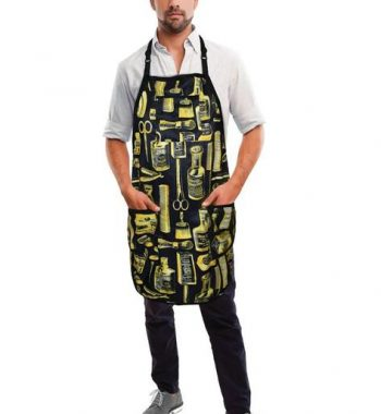 Betty Dain Vintage Barber Apron Black/Gold