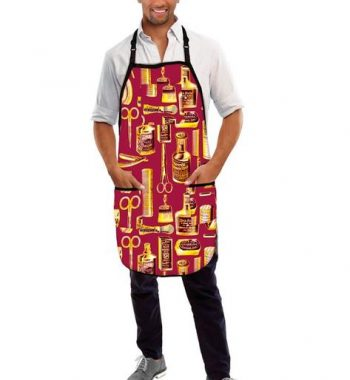 Betty Dain Vintage Barber Apron burgundy/Gold