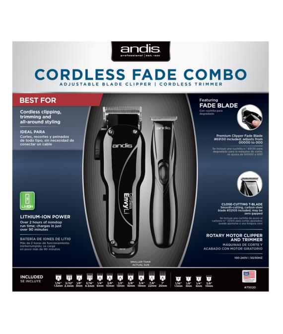 andis cordless fade combo set