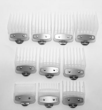 Clipper guard set clear- fits wahl and babyliss 1-8, 1/2, 1-1/2