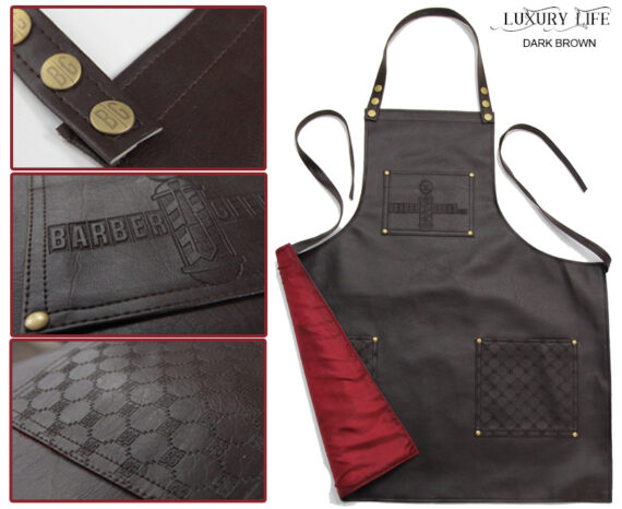 BarberGeeks Luxury style barber apron - dark brown