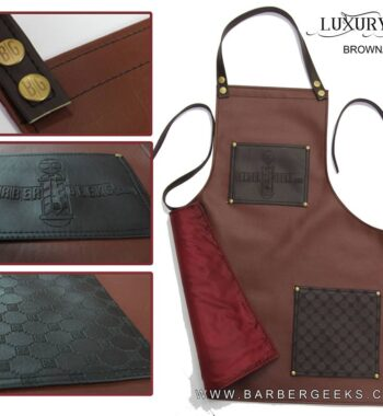 BarberGeeks Luxury style barber apron - brown & cogniac