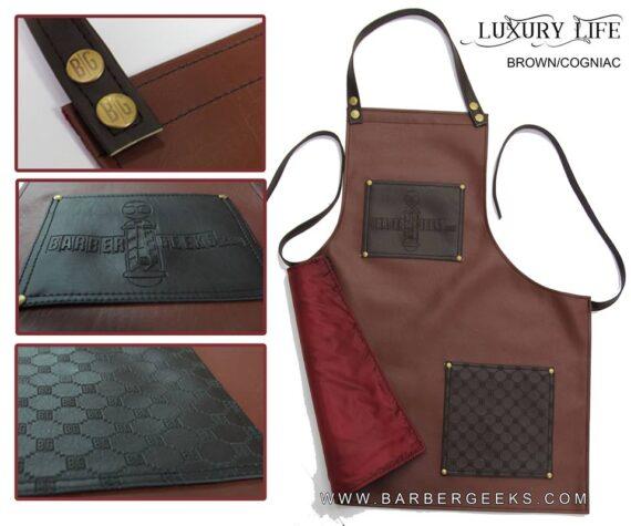 BarberGeeks Luxury style barber apron - brown & cogniac