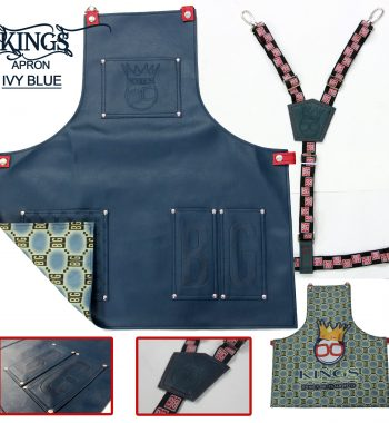 BarberGeeks Xl King's Ivy Apron With Y-Strap - blue
