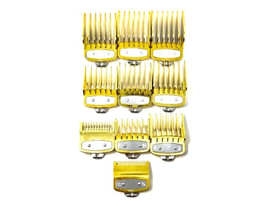 Gold Clipper guard set - fits wahl and babyliss 1-8, 1/2, 1-1/2