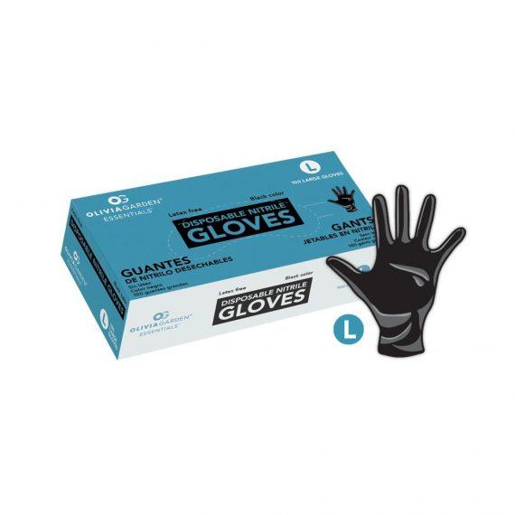 Olivia Garden Essentials Black Nitrile Disposable Gloves (100 ct)