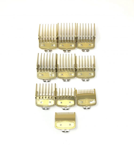 Gold Clipper guard set with metal clip - fits wahl and babyliss (1-8, 0.5, 1.5)