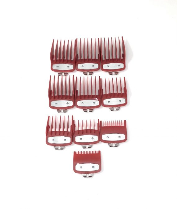 Red Clipper guard set with metal clip - fits wahl and babyliss (1-8, 0.5, 1.5)