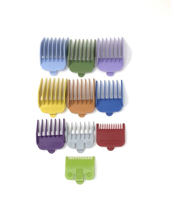 Colored Plastic Clipper guard set - fits wahl and babyliss (1-8, 0.5, 1.5)