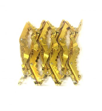 Gold big lock gator hair clips - 6 pack