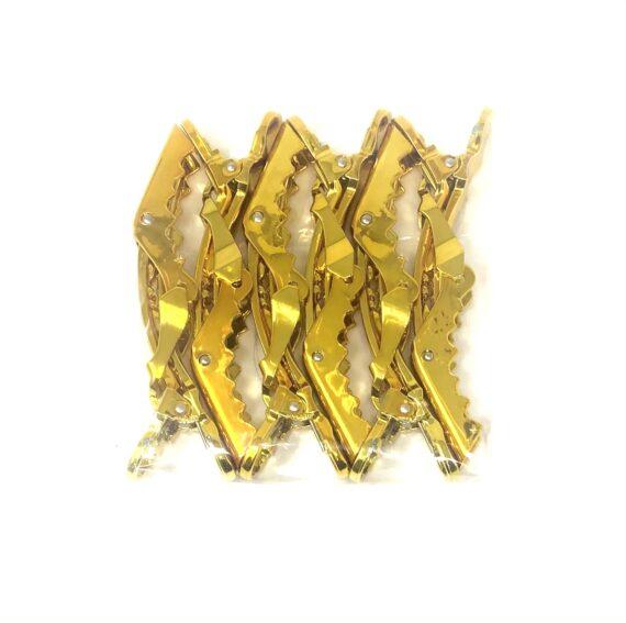 Gold big lock gator hair clips - 6 pack