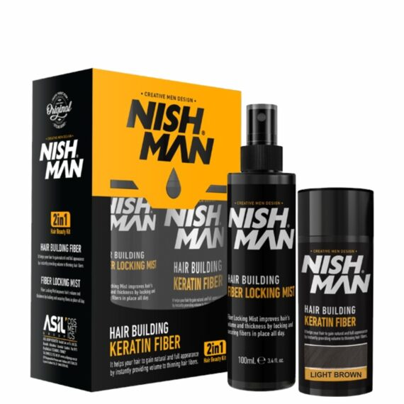 NISHMAN Hair Building Keratin Fiber Kit 21g with Locking mist 2 in 1 - Multi colors