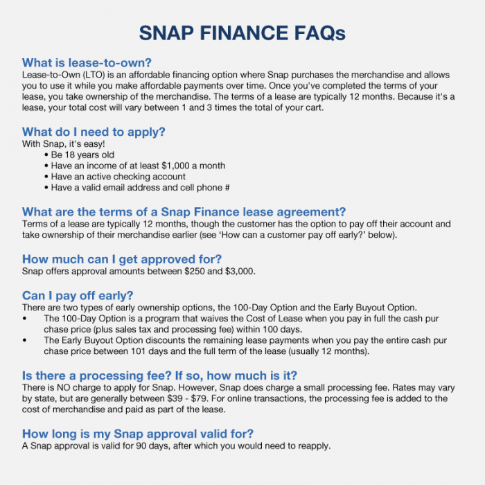 Snap Finance FAQ