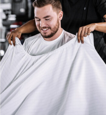 Barber Strong barber Cape White with Black Pinstripe