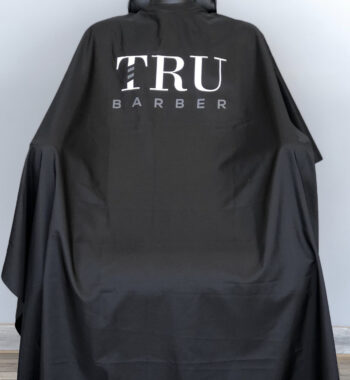 TRUBARBER PROFESSIONAL BARBER CAPE - Black With White Letters