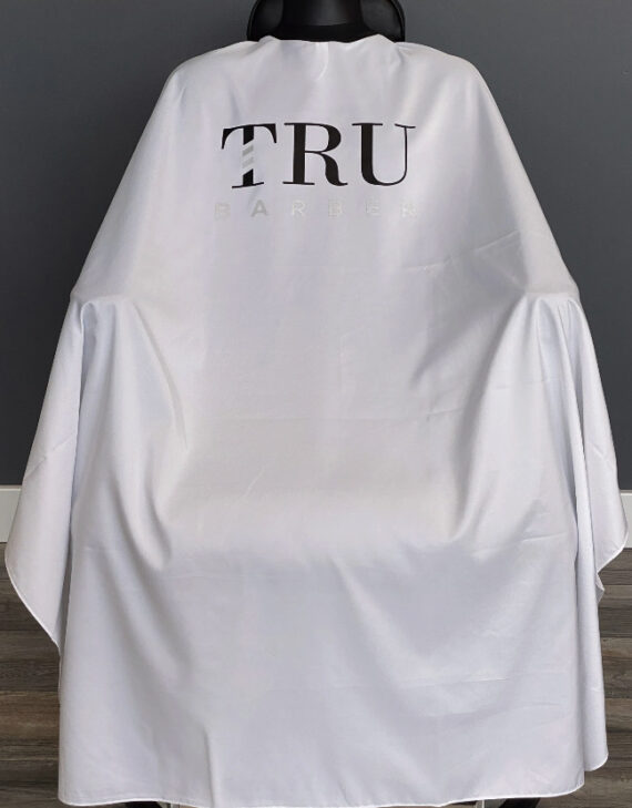 TRUBARBER PROFESSIONAL BARBER CAPE - White With Black Letters