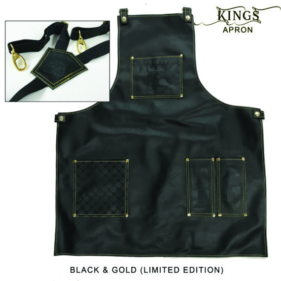 BarberGeeks Xl King's Apron With Y-Strap - Black & gold stiches
