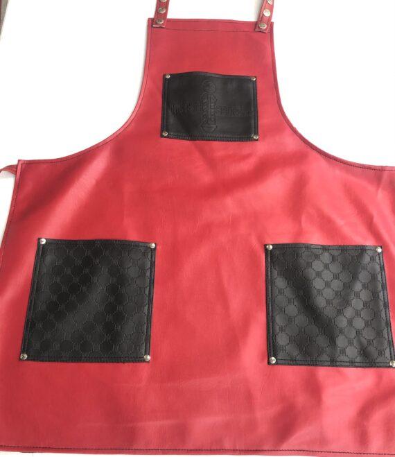 BarberGeeks luxury life barber apron - red w black