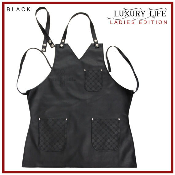 BarberGeeks LUXURY LIFE APRON LADIES EDITION - Black with red stiches