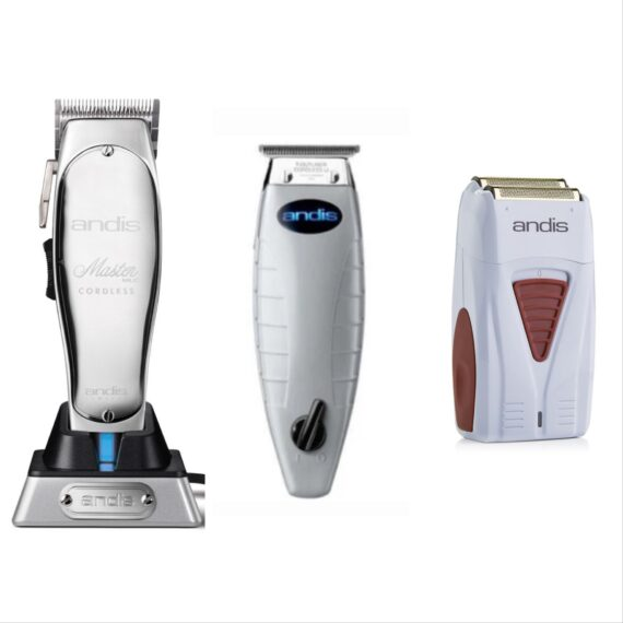 Andis 3pc Cordless Combo by ibs - Cordless Master, Cordless T-Outliner, Cordless Foil Shaver