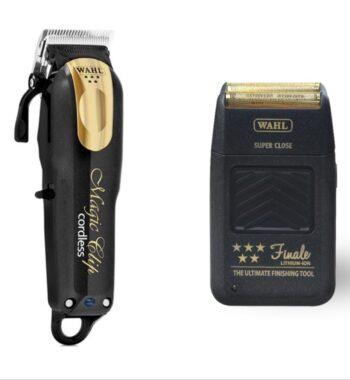 Wahl Pro 2pc Combo by ibs - Magic clip Cordless black gold, Finale Foil Shaver