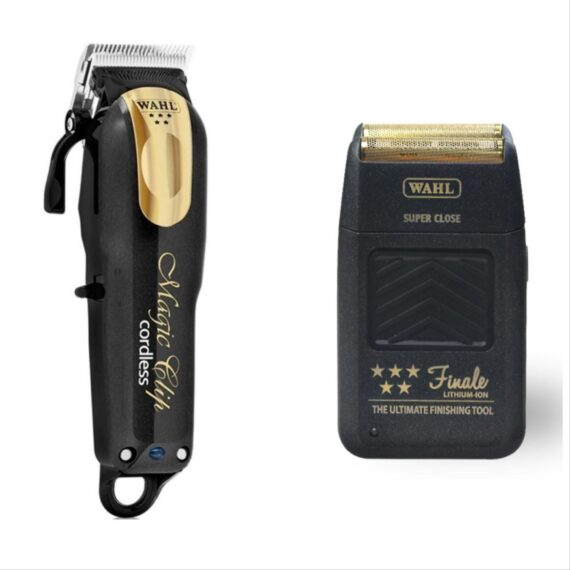 Wahl Pro 2pc Combo by ibs - Magic clip Cordless black gold, Finale Foil Shaver