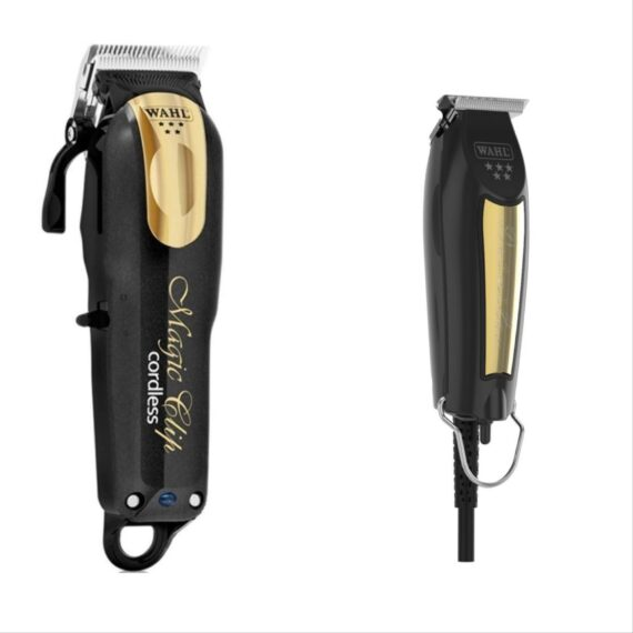 Wahl Pro 2pc Combo by ibs - Magic clip Cordless black gold, Detailer corded black gold