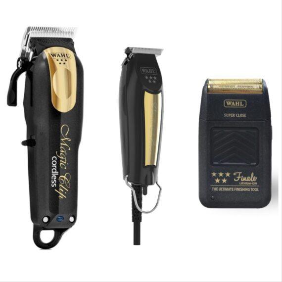 Wahl Pro 3pc Combo by ibs - Magic clip Cordless black gold, Detailer corded black gold, Finale Foil Shaver