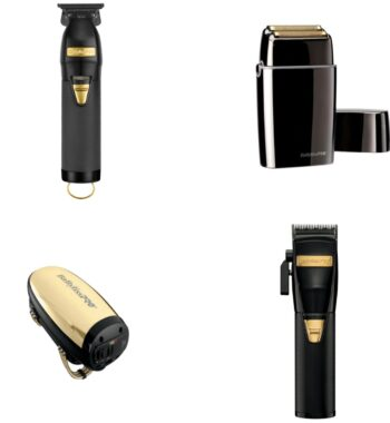 Babylisspro 4pc BlackFX Combo by IBS - FX Clipper, FX Trimmer, FX Shaver, Gold VibeFX Massager