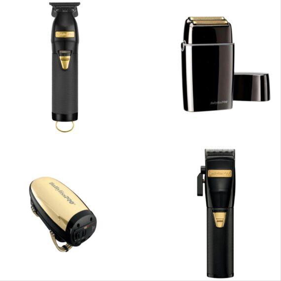 Babylisspro 4pc BlackFX Combo by IBS - FX Clipper, FX Trimmer, FX Shaver, Gold VibeFX Massager