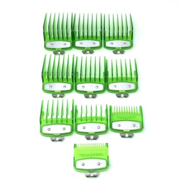 Green Clear Clipper guards set with metal clip - fits wahl and babyliss (1-8, 0.5, 1.5)