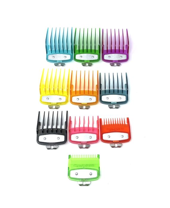 Colorful Clear Clipper guards set with metal clip -fits wahl and babyliss (1-8, 0.5, 1.5)