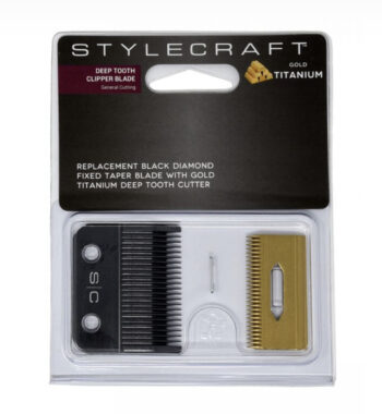 STYLECRAFT CLIPPER BLADE WITH DLC TAPE FIXED BLADE AND DEEP TOOTH GOLD TITANIUM CUTTER- ergo and alpha