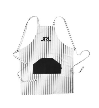 JRL Professional Barber Apron white with Black Pin Strips